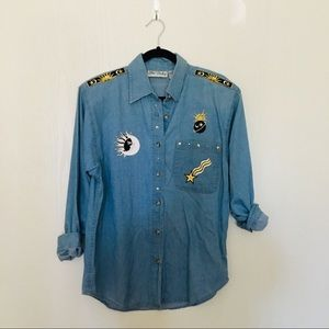 Vintage Get Lucky Moon & Sun Button Chambray Top